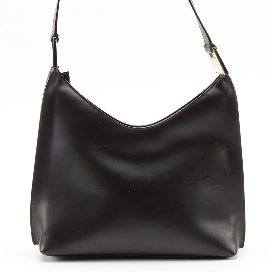 Gucci Shoulder Bag in Dark Brown Smooth Leather