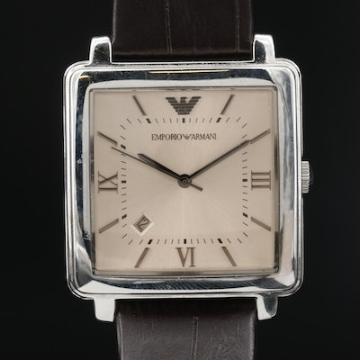 Emporio Armani with Date Stainless Steel Quartz Wristwatch
