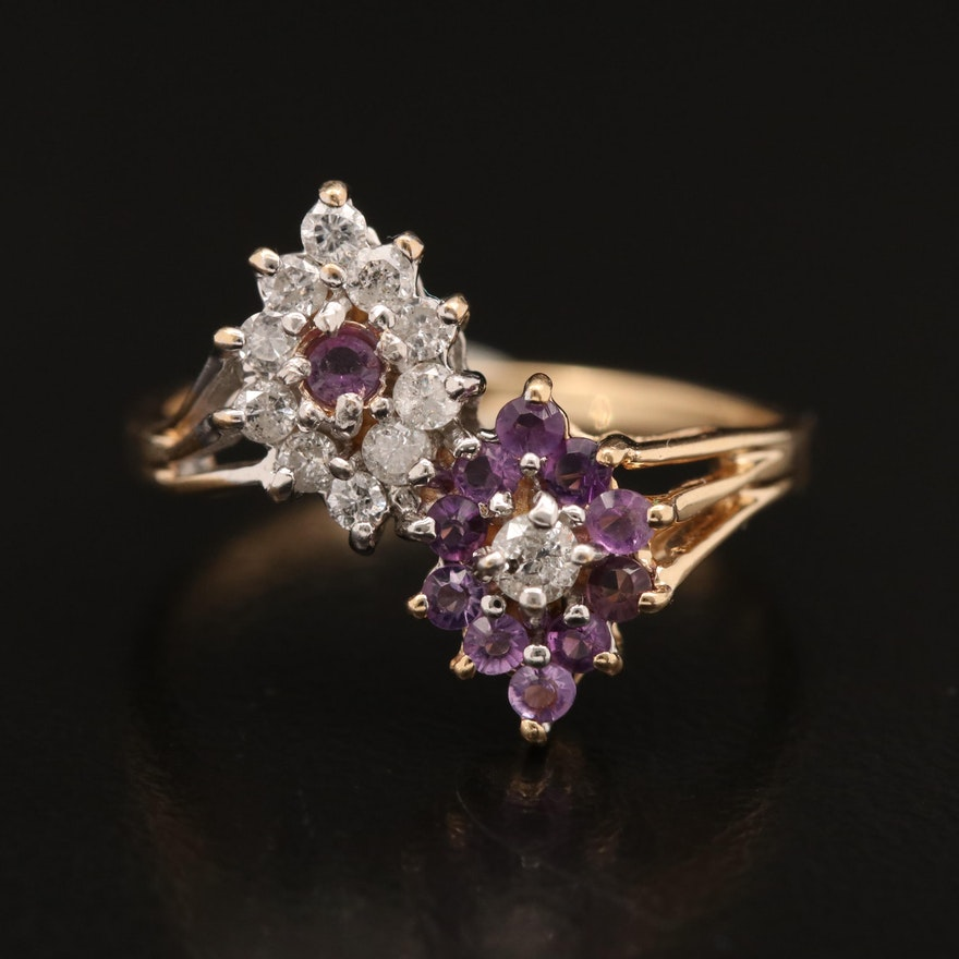 14K Diamond and Amethyst Bypass Ring