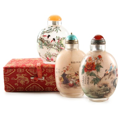 Chinese Reverse Painted Snuff Bottles with Agate, Carnelian and Howlite Stoppers