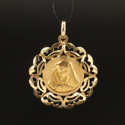 14K Mother Mary Pendant with Scalloped Edges