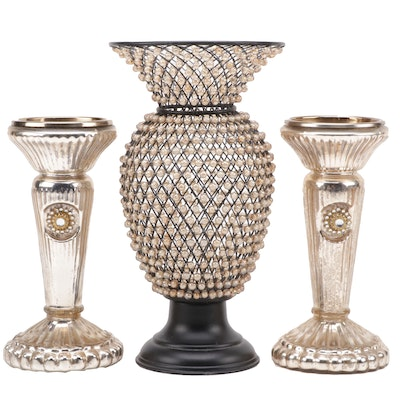 Decorative Beaded Vase and Pair of Mercury Glass Style Candle Holders