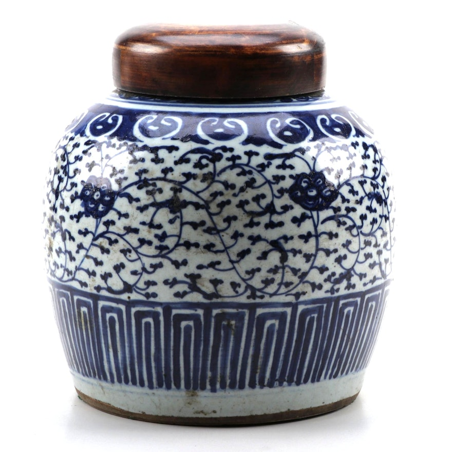 Chinese Blue and White Covered Ginger Jar, 19th Century