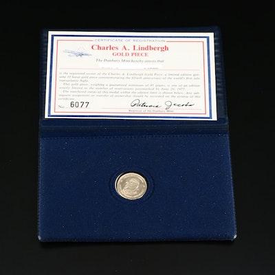 Charles Lindbergh 10K Gold Commemorative Medal