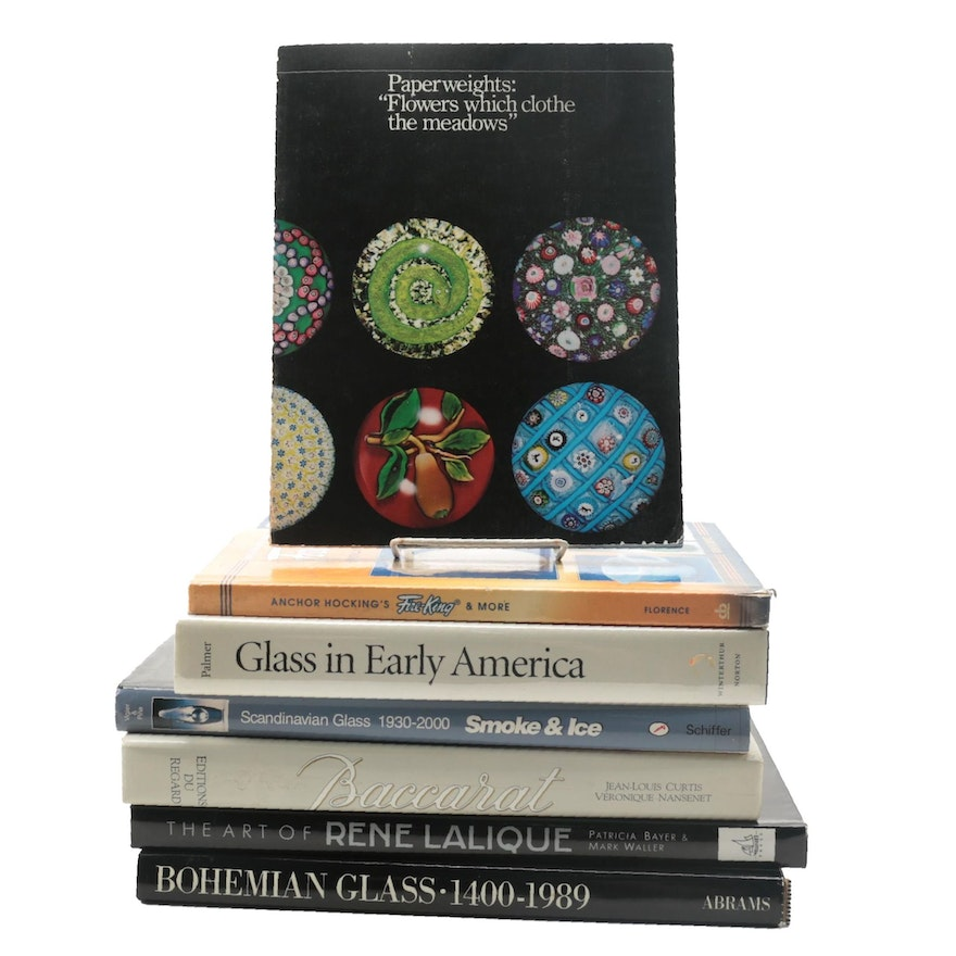 """Decorative Glass Reference Books Including """"Glass in Early America"""" by Palmer"""
