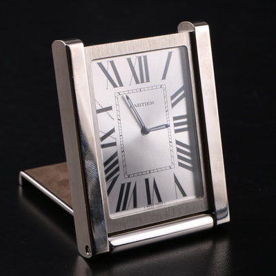 Cartier Swiss Made Tank Desk Clock with Coach Leather Pouch