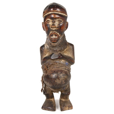 Yombe Style Carved Wooden Figure, Central Africa