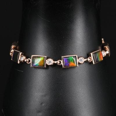 14K Rose Gold Quartz Over Ammolite and Diamond Bracelet