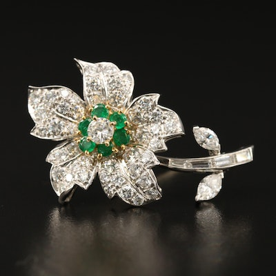 Platinum 4.09 CTW Diamond and Emerald Flower Brooch