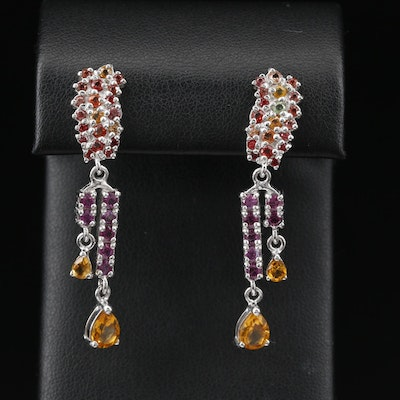 Sterling Silver Sapphire and Garnet Dangle Earrings