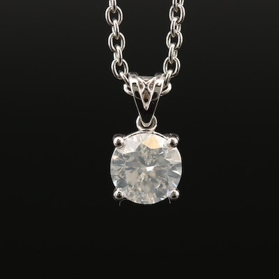 18K 1.16 CT Diamond Solitaire Pendant Necklace