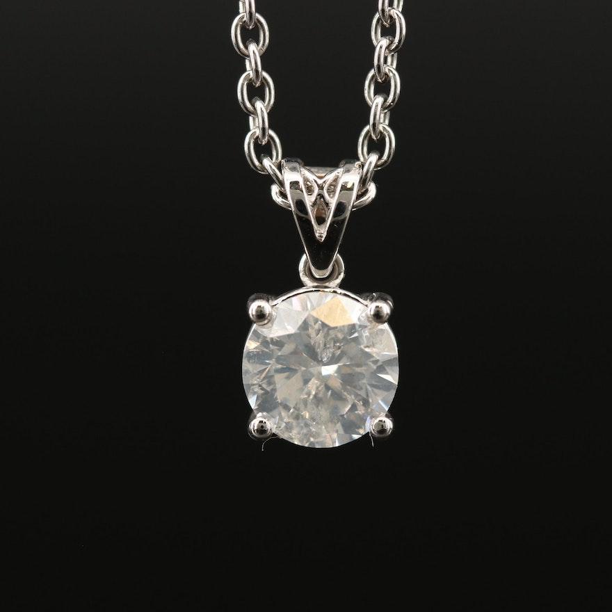 18K 1.16 CT Diamond Solitaire Pendant Necklace