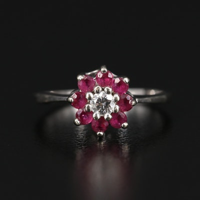 14K Diamond Ring with Ruby Halo