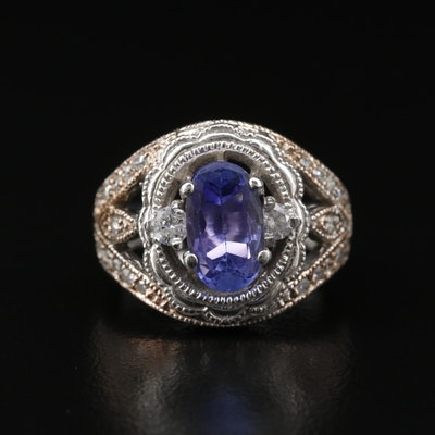 14K Tanzanite and Diamond Open Work Ring