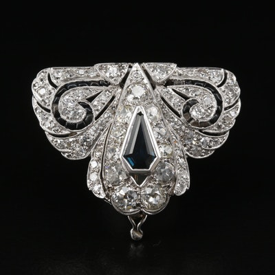 Art Deco Platinum 3.13 CTW Diamond, Sapphire and Black Onyx Converter Brooch