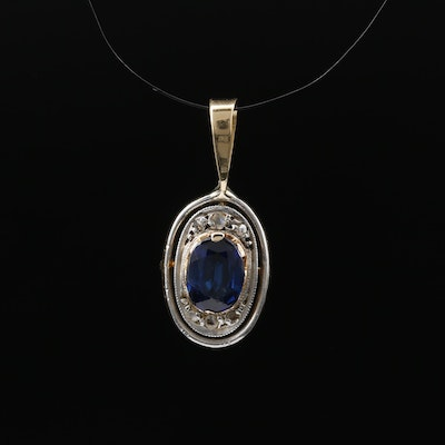 18K Sapphire and Diamond Pendant with Platinum Accent