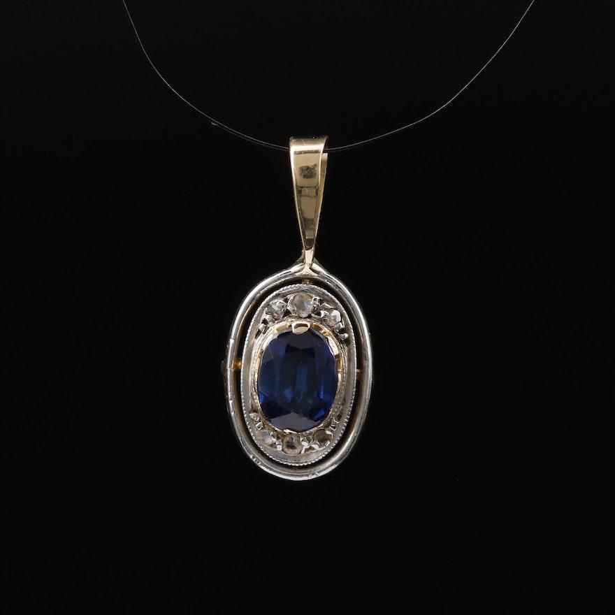 18K Sapphire and Diamond Pendant with Platinum Accent