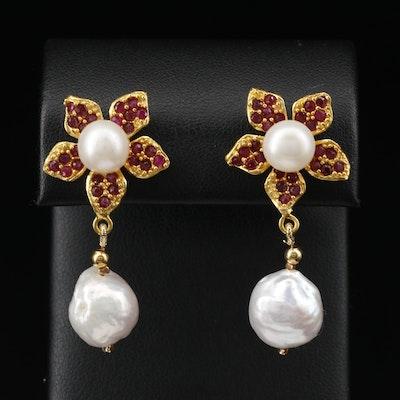 Sterling Silver Pearl and Ruby Flower Drop Earrings