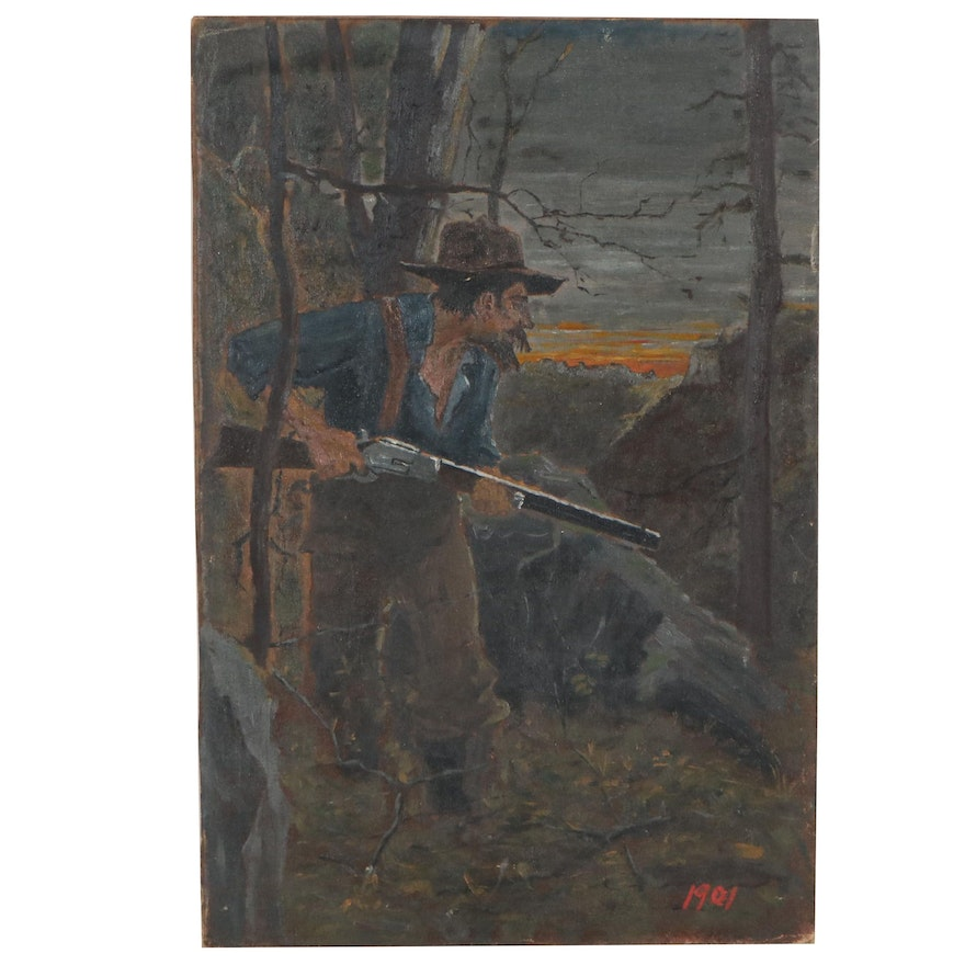 Figural Oil Painting of Hunter, 1901