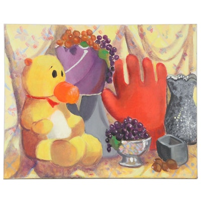 Judith R. Robinson Still Life Acrylic Painting of Fruit and Toys