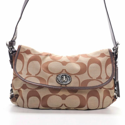 Coach Flap Front Shoulder Bag in Signature Canvas and Leather