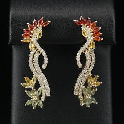 Sterling Silver Sapphire and Cubic Zirconia Floral Motif Earrings