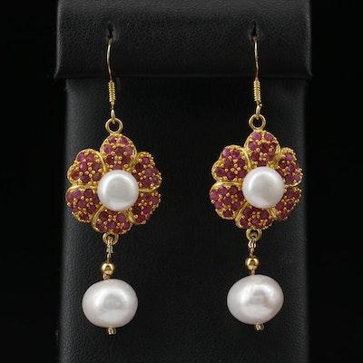 Sterling Corundum and Pearl Flower Dangle Earrings