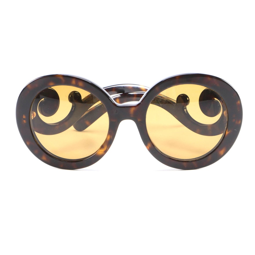 Prada Minimal Baroque Prescription Sunglasses in Dark Tortoise with Case