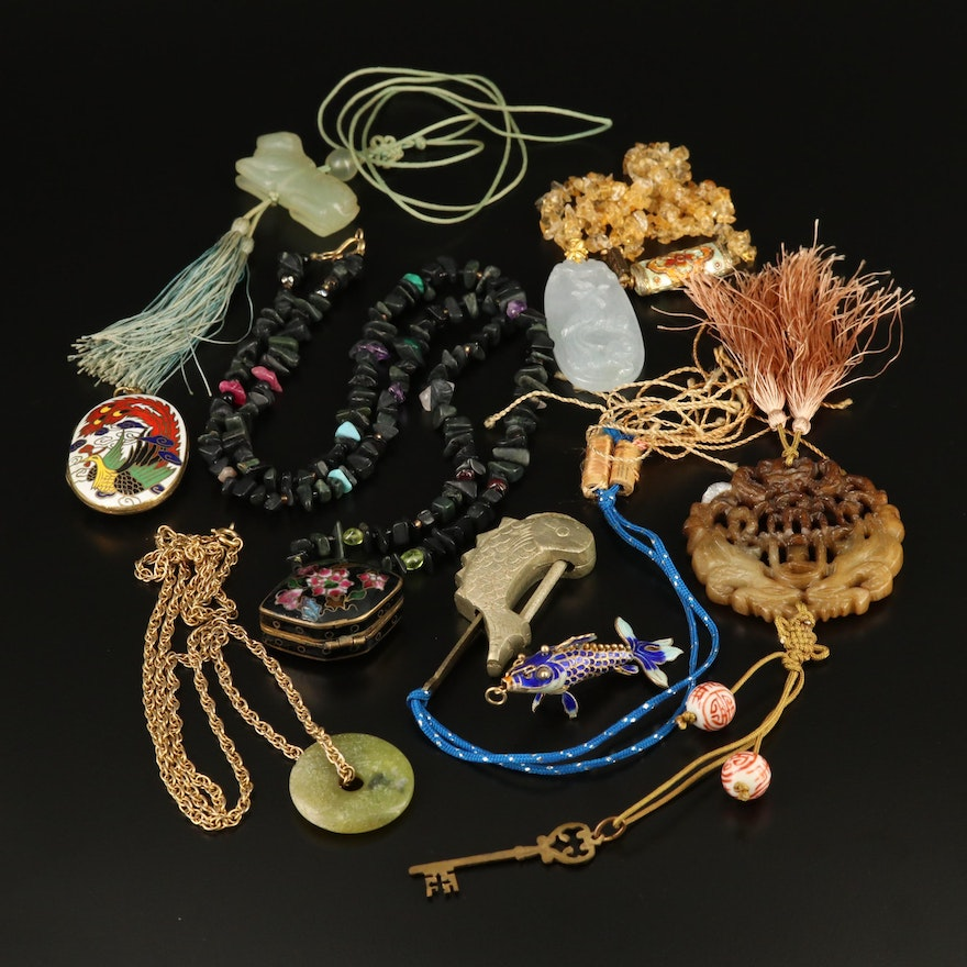 Asian Jewelry Featuring Jadeite, Serpentine and Citrine Accents