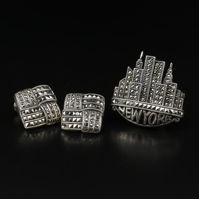 Sterling Marcasite Jewelry Featuring Judith Jack and New York Brooch