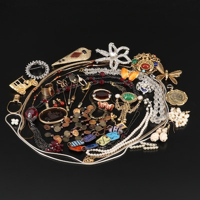 Assorted Vintage Jewelry Featuring Vintage Trifari Car Brooch