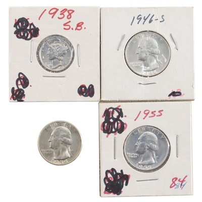 Four Vintage Uncirculated U.S. Silver Coins