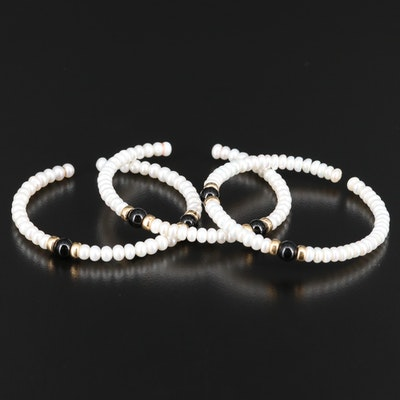 14K Pearl and Black Onyx Bracelets