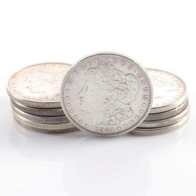 Ten 1921 Morgan Silver Dollars