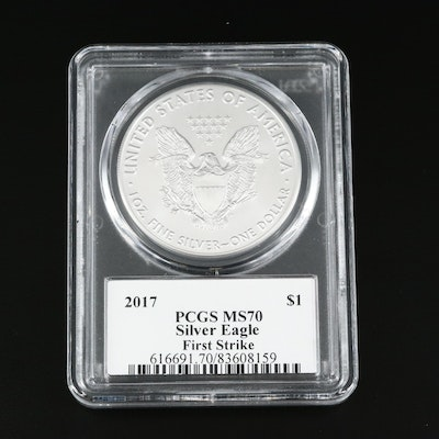 PCGS Graded MS70 2017 American Silver Eagle Bullion Coin
