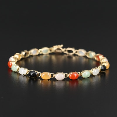 14K Multi-Colored Jadeite Link Bracelet