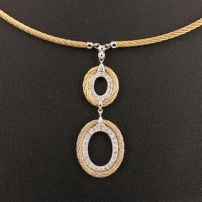 Charriol 18K and Steel Diamond Pendant Necklace