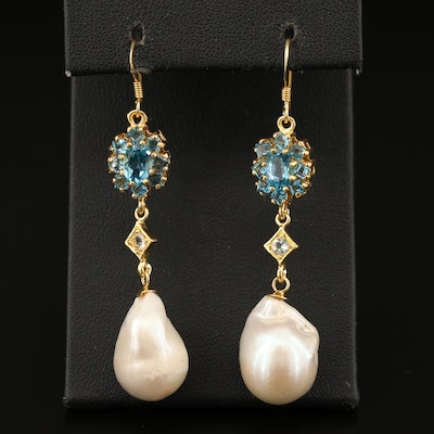 Sterling Silver Pearl and Topaz Drop Earrings