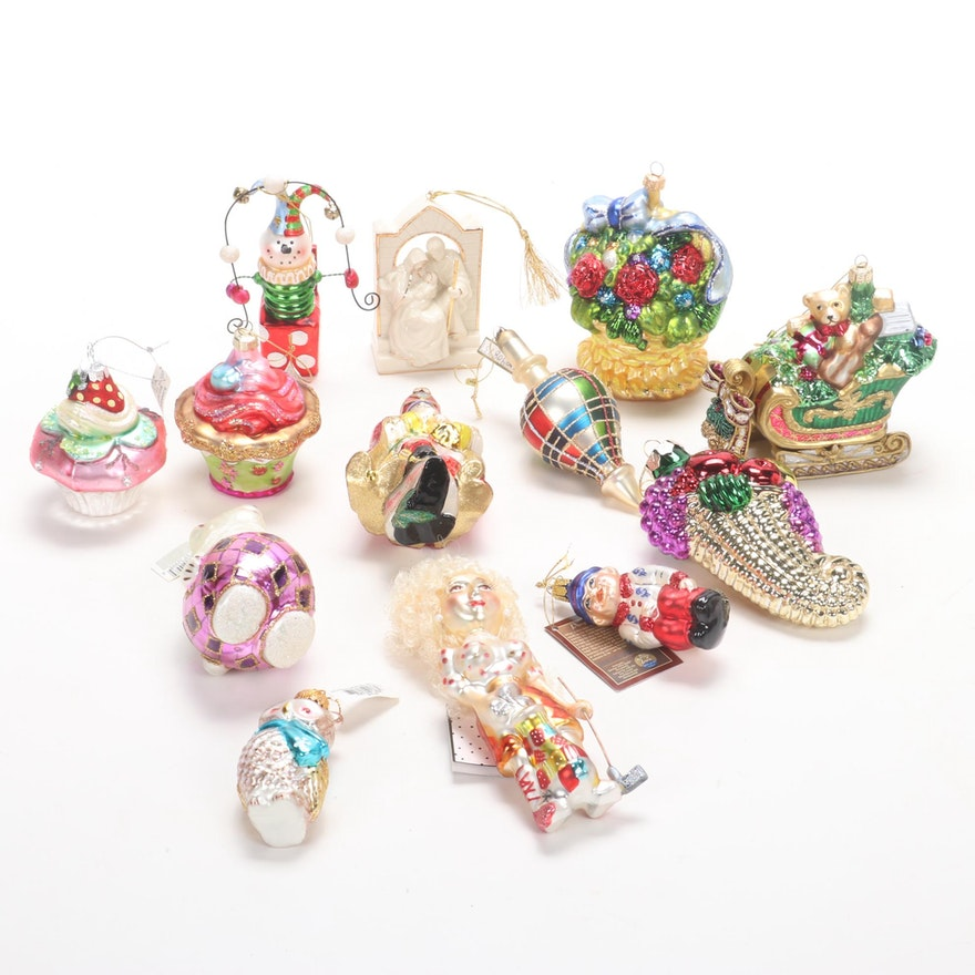 Lenox Porcelain Christmas Ornament with Other Hand-Blown Glass Ornaments