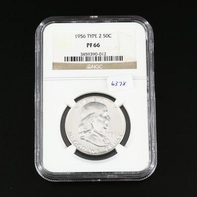 NGC Graded PF66 1956 Type 2 Proof Franklin Silver Half Dollar