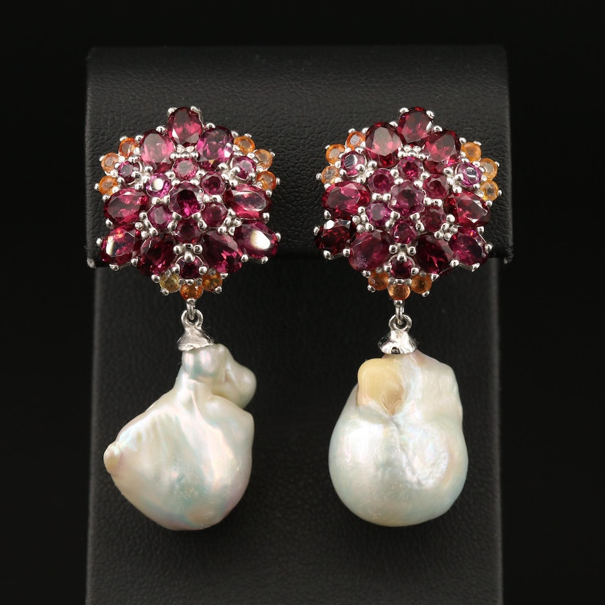 Sterling Garnet, Sapphire Cluster Earrings with Pearl Drops