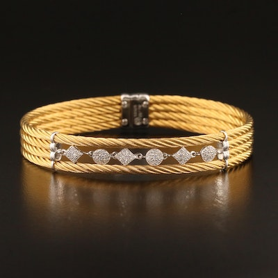Charriol Stainless Steel Diamond Bracelet with 18K Accents
