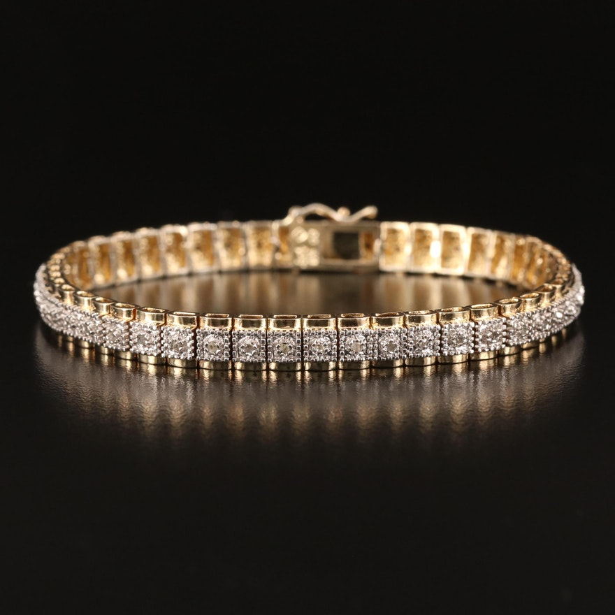 Sterling Silver Diamond Line Bracelet