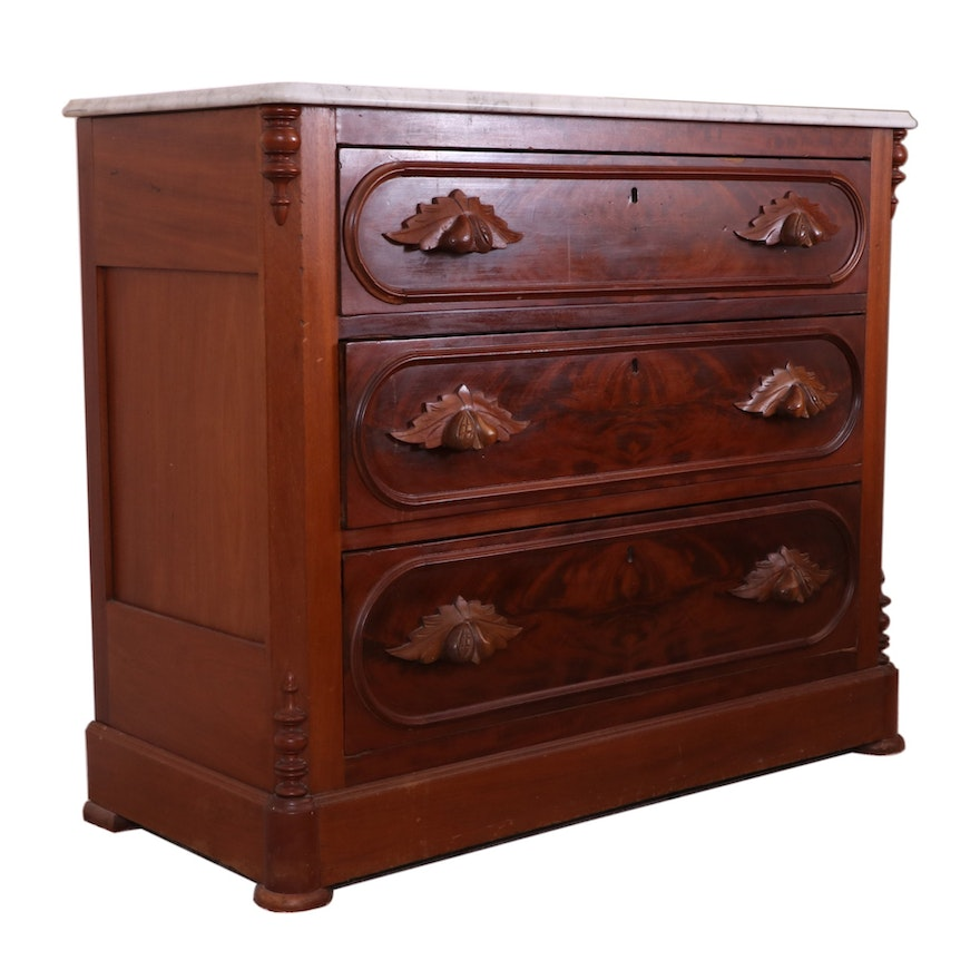 Victorian Walnut, Burl Walnut and Marble Top Chest of Drawers