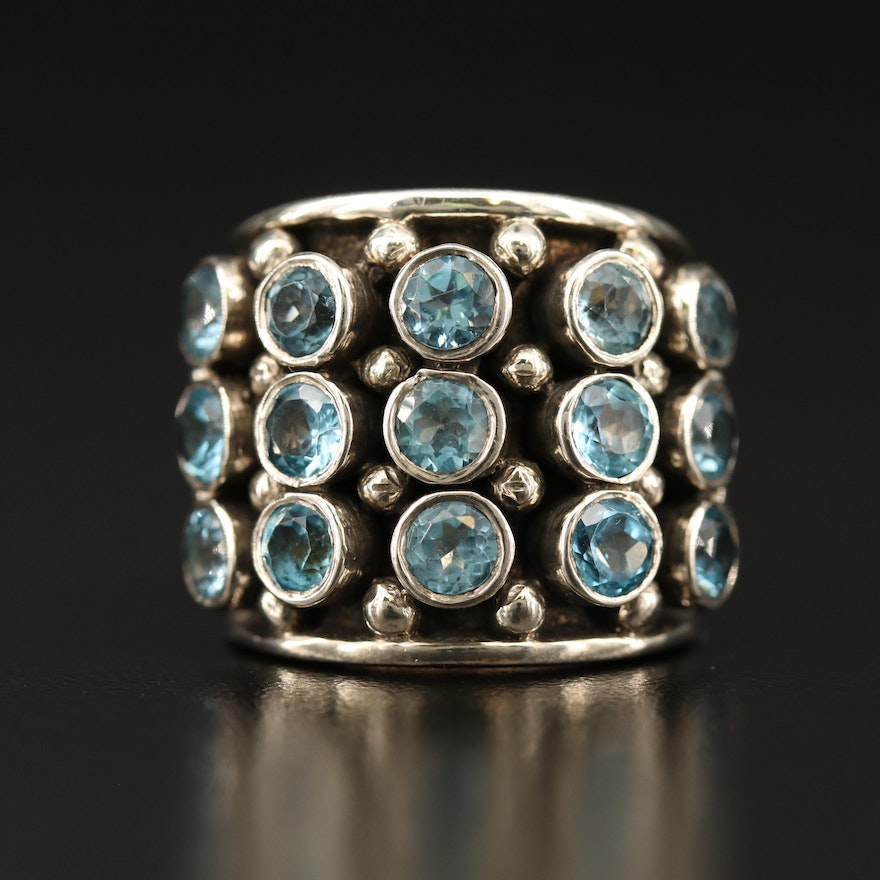 Sterling Topaz Tapered Band