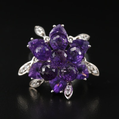 Sterling Amethyst and White Zircon Cluster Ring with Moving Pieces