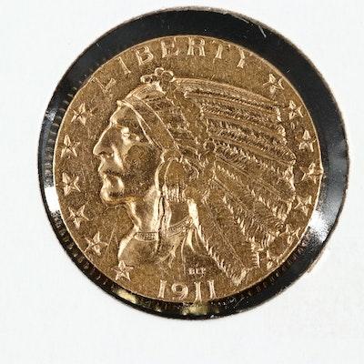 1911-S Indian Head $5 Gold Half Eagle Coin