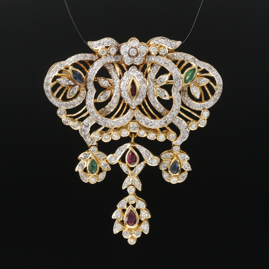 18K 1.46 CTW Diamond, Ruby, Emerald and Sapphire Converter Brooch