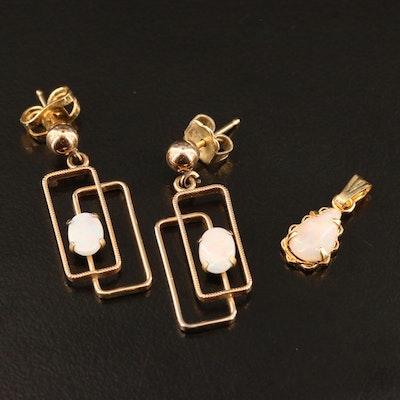 14K Opal Pendant and Geometric Earrings