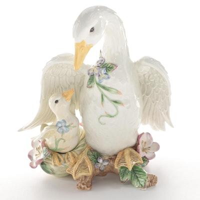 "Fitz and Floyd ""Garden Rhapsody"" Ceramic Goose Figurine"